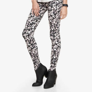 Express leggings black grey white floral print S